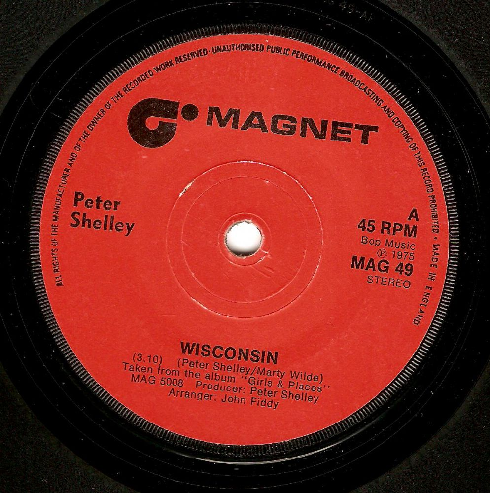 PETER SHELLEY Wisconsin Vinyl Record 7 Inch Magnet 1975
